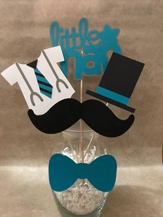 Have a little man's birthday coming up? Or a baby shower? You've come to the right place! I have made little man themed centerpieces that will make your party stand out! Baby Shower Labels, Baby Shower Deco, Baby Shower Themes, Baby Boy Shower, Little Man Centerpieces, Little Man Party, Baby Announcement Cards, Birthday Packages, Daddy Day