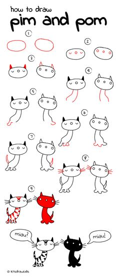 How to draw Pim and Pom. Easy drawing, step by step, perfect for kids! Let's draw kids. http://letsdrawkids.com/
