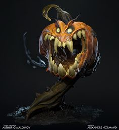Creepy Pumpkin, by Alexandre Normand https://www.artstation.com/artwork/gxVNL #SubstanceDesigner #SubstancePainter