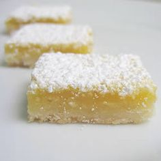 """Lemon Squares I Allrecipes.com  made these today with whole wheat white flour, tastes great!  not low fat, but it is """"real""""."""