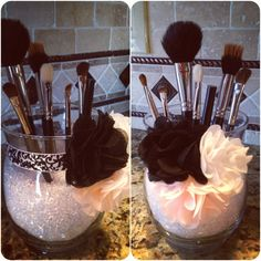 makeup brush holder use small clear beads with curved juice glasses you have with ribbon and Brooklyn's hair clips