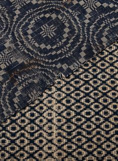 Hand woven coverlet fragments from the early 19th century, both made on South Carolina plantations of natural cotton and indigo-dyed wool. Charleston Museum