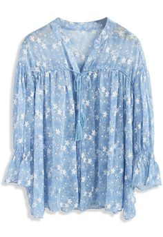 Invigorating Floweret Chiffon Sheer Dolly Top - New Arrivals - Retro, Indie and Unique Fashion