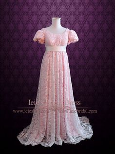 - Dress Info - Ordering at Ieie's - Custom Designs Beautiful Regency style lace evening dress with detachable satin sash that can be tied into a bow at the back around the empire waist. Dress is made