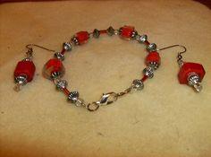 Red Square Bracelet and Earring Set - Size 7 Bracelet