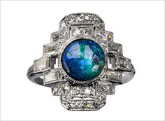 Art Deco Black Opal and Diamond Cocktail Ring, Platinum : Erie Basin Antiques. Bijoux Art Deco, Art Deco Jewelry, Jewelry Design, Black Sapphire, Black Opal, Antique Jewelry, Vintage Jewelry, Opal Rings, Blue Rings