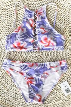 5f70dcec749ee Cupshe Remember Happiness Floral Bikini Set Juniors Swimsuits, Cute  Swimsuits, Swimsuits 2017, Woman