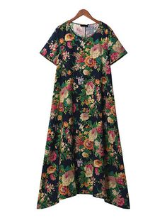 Vintage Women Floral Printed Short Sleeve Long Maxi Dresses
