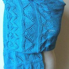 Etole en maille dentelle en 100% coton couleur turquoise