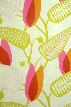 Spira inredning / pink, green and orange leafy fabric