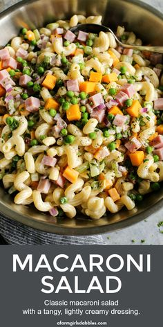 Macaroni Salad with Ham and Cheese from afarmgirlsdabbles. - The best easy classic macaroni salad recipe. Tossed with a tangy, lightly creamy dressing, it pairs with nearly any meal! Macaroni Salad Ingredients, Pasta Salad Recipes, Healthy Salad Recipes, Macaroni Salad With Ham, Classic Macaroni Salad, Healthy Macaroni Salad, Macaroni Cheese, Mayonnaise, Cheddar