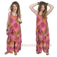 SunHeart 2-Layer Ruched Tank Top or Dress Batik  Resort Wear
