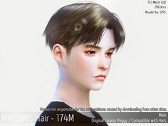 Hair (Peggy) - The Sims 4 Catalog Hair (Peggy) for The Sims 4 Men's Hairstyle by May Sims Los Sims 4 Mods, Sims 4 Game Mods, Sims Games, Sims 4 Hair Male, Sims Hair, Sims 4 Mods Clothes, Sims 4 Clothing, Sims 4 Cas, Sims Cc