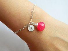 Gemstone Initial Bracelet Birthstone Jewelry by DanglingJewelry, $30.00