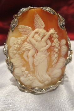"Antique Venus and Cupid shell cameo brooch pendant.  Diamonds & 9ct gold.   Large $720 2.4""(60mm) Width: 2"" (50mm) $720 19th century"