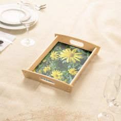 Yellow Flowers Serving Tray. Garden Party, anyone?