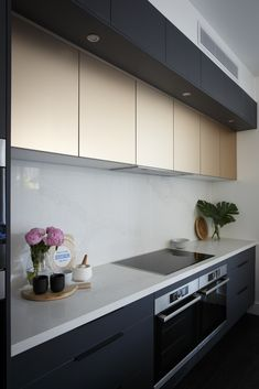 Champagner gold metallic feature cabinets contrasting matte Charcoal Riven cabinets from Freedom Kitchens. By contestants Hannah & Clint. Kitchen Gallery, Your Freedom, Cabinet Design, Kitchen Cabinets, House Design, Wall, Kitchens, Inspiration, Park House