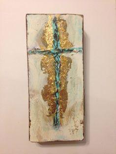 Handmade Original Textured Cross On Wood, Rustic Painted Wall Art, Acrylic Gold Leaf Cross, Verdigris, Cross Painting