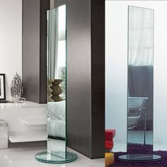 Tonelli Soglia Mirror by Isao Hosoe | Revolving Mirrors – modernpalette Modern Floor Mirrors, Walnut Bookcase, Freestanding Mirrors, Double Sided Mirror, Metal Structure, Glass Containers, Storage Drawers, Modern Contemporary, Make It Simple