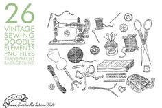 Vintage Sewing Hand Drawing Set PNG by Nedti  on @creativemarket