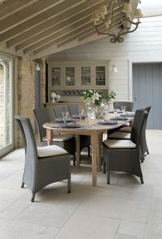 DINING ROOM Neptune Sheldrake Extending Table & Havana Lloyd Loom Dining Chair - Call Dessie at Blackrock Kitchens for more details Room Design, House, Dining, New Homes, Home Decor, Luxury Dining, House Interior, Cottage Dining Rooms, French House