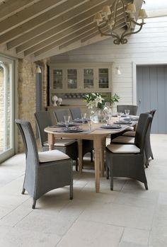 Neptune Sheldrake Extending Table & Havana Lloyd Loom Dining Chair - Call Dessie at Blackrock Kitchens for more details