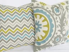 Throw Pillow Covers pair grey blue green natural suzani TWO 20x20 same fabric front / back FREE SHIP. $45.00, via Etsy.