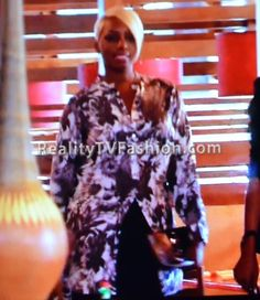 "NeNe Leakes' Stella McCartney Black & White Floral Print Blouse on ""Real Housewives of Atlanta"""
