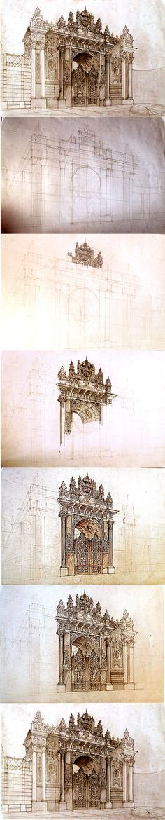 #istanbul free hand drawing by Maja Wrońska, via Behance