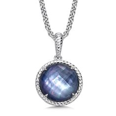 Sterling Silver Quartz & Dyed Blue Mother of Pearl Essentials Pendant - A Luminous Sterling Silver Quartz & Dyed Blue Mother of Pearl Essentials Pendant with Satin silver metal finish and rope design.  Round 12MM Center. Chain Included.