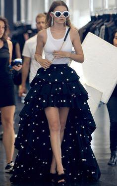 Gigi Hadid in Saint Laurent on a photoshoot in Beverly Hills. #bestdressed