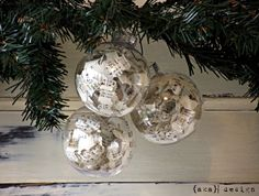 DIY Sheet Music Christmas Ornaments. A great way to get a book page look using clear glass ornaments.