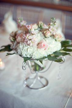 #Centerpiece | Hydrangeas and Roses | See the wedding on SMP: http://www.StyleMePretty.com/georgia-weddings/savannah/2014/01/23/romantic-savannah-wedding/ Photography: Memories N More