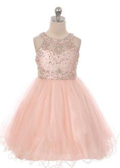Blush Stunning Crystal Flower Girl Dress