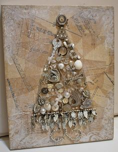 shabby jewerly christmas tree | Christmas Tree Collage on canvas | Flickr - Photo Sharing!
