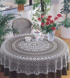 Crochet doily - crochet doilies - Crochet tablecloth - Home decor - White crochet doilies - Handmade tablecloth by DoiliesbyElena on Etsy Crochet Tablecloth Pattern, Crochet Bedspread, Crochet Doilies, Crochet Patterns, Enchanted Flowers, Mantel Redondo, Filet Crochet Charts, Fillet Crochet, Crochet Round