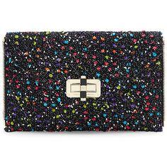 Diane Von Furstenberg Women's Agent Karlie Confetti Tweed Zip On... ($148) ❤ liked on Polyvore featuring bags, handbags, clutches, bolsas, black, tweed purse, zip purse, tweed handbags, handbags totes and diane von furstenberg tote