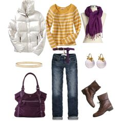 Yellow and Purple, created by #bluehydrangea on #polyvore. #fashion #style Old Navy Abercrombie & Fitch