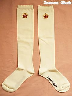 Innocent World | Ribbon Crown Embroidery Socks in antique white.