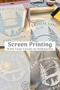 Screen Printing With Your Cricut Or Silhouette I www.FrugalFlorida I The post Screen Printing With Your Cricut Or Silhouette An Easy DIY Guide appeared first on Easy Crafts. Wine Bottle Crafts, Mason Jar Crafts, Mason Jar Diy, Inkscape Tutorials, Cricut Tutorials, Crafts To Sell, Diy And Crafts, Paper Crafts, Sell Diy