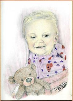 This is a graphite and colored pencil I did of this very sweet little angel who is sick with Tay–Sachs disease. She is from our area and is involved in a Pay It Forward group. A friend asked would I do a portrait of her. Say a prayer for her and her family. :-) by Connie Baten