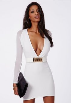 Fearne Mesh Sleeve Ribbed Plunge Dress White - Dresses - Missguided