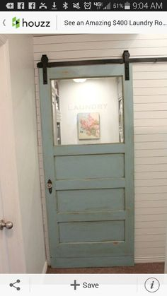 "Laundry Room entrance :: Antique door at rolling ""barn door"" hardware - reuse old door? Laundry Room Doors, Laundry Room Remodel, Basement Laundry, Laundry Room Storage, Laundry Room Design, Closet Doors, Laundry Room Small, Laundry Room Drying Rack, Drying Racks"