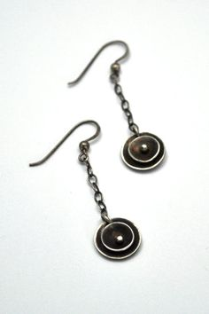 Riveted Sterling Silver Earrings, Orbital Chain Earrings, Oxidized Silver Earrings