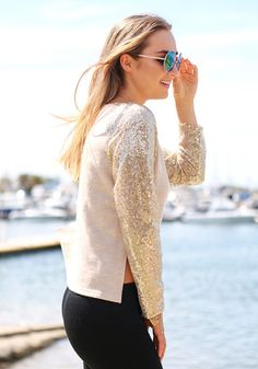 Hi-Lo Sequins Top - Chic Apricot Knitted Top