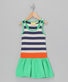 Take a look at this Navy Stripe Organic Drop-Waist Dress - Infant, Toddler & Girls by Boys&Girls on #zulily today!