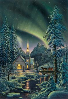 Light of the World by Kim Norlien ~ aurora borealis ~ winter ~ church ~ twilight