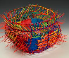 concepts, forms, materials, techniques, and processes related to basketry Textile Sculpture, Textile Fiber Art, Copper Basket, Contemporary Baskets, Bountiful Baskets, Plastic Design, Recycled Art, Repurposed, Wire Art