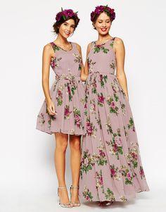 Image 4 ofASOS WEDDING Lilac Floral Skater Mini Dress