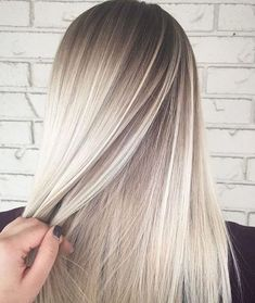shadow root Icy white blonde hair balayage